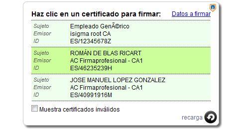 Selección de un certificado digital